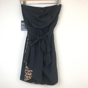 Gorgeous Black Strapless Dress with Leopard Detail